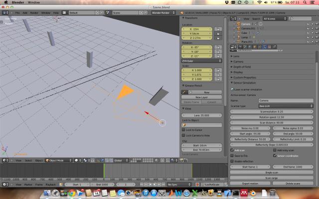 """Blender Software mit erstellter Szene in """"Solid"""" Ansicht sowie eingefügtem ibeo Lux Laserscanner (orange)"""