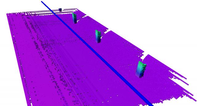 Octovis Darstellung der Szene mit farbcodierter Höhe sowie gefahrener Trajektorie (blaue Linie)